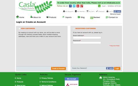 Screenshot of Login Page casia.co.in - Customer Login - captured Oct. 8, 2014