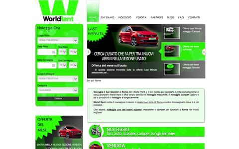 Screenshot of Home Page worldrent.it - Noleggio e Vendita Scooter Roma - WorldRent offre ampia gamma di Scooter e Auto a Roma - captured Feb. 21, 2016