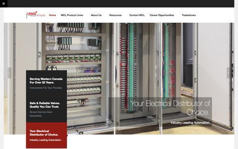 Screenshot of Home Page mcl.ca - Measurement & Controls Ltd. - captured Sept. 6, 2015