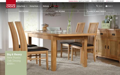 Screenshot of Home Page furniturechoice.co.uk - Furniture Choice - Dining Sets, Tables & Chairs, Sofas, Mattresses & Bedroom Furniture - captured Oct. 1, 2015