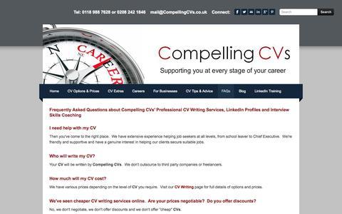 Screenshot of FAQ Page compellingcvs.co.uk - FAQs - Compelling CVs - captured Sept. 30, 2014
