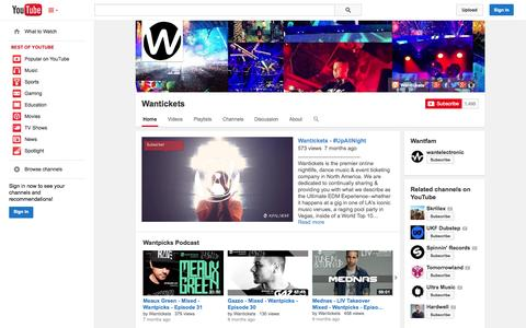 Screenshot of YouTube Page youtube.com - Wantickets  - YouTube - captured Oct. 25, 2014