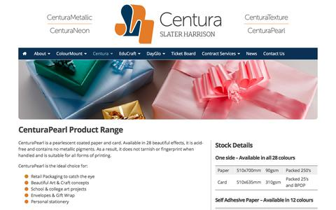 Screenshot of Products Page slater-harrison.co.uk - CenturaPearl Product Range - Slater Harrison - captured Nov. 2, 2017