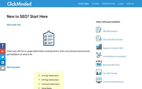 Screenshot of clickminded.com - New to SEO? Start Here - ClickMinded - captured Oct. 8, 2016