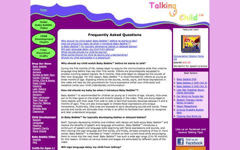 Screenshot of FAQ Page talkingchild.com - faq - captured Oct. 7, 2014