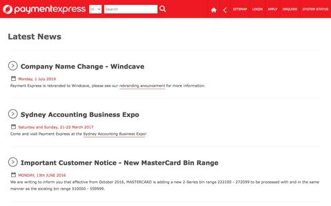 Screenshot of Press Page paymentexpress.com - Payment Express | News | EFTPOS | Payment Gateway | Online Credit & Debit Card Processing - captured July 7, 2019