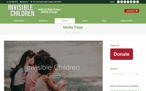 Screenshot of Press Page invisiblechildren.org - Media Page | INVISIBLE CHILDREN - captured Oct. 12, 2018