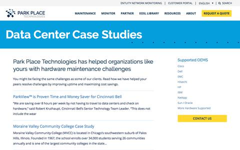 Screenshot of Case Studies Page parkplacetechnologies.com - Data Center Maintenance Case Studies - captured Jan. 20, 2020