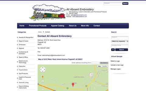 Screenshot of Contact Page allaboardemb.com - Contact    Branded Merchandise, Promotional Gifts, Corporate Clothing, Uniforms, Sports - All Aboard Embroidery, Flagstaff, AZ - captured Sept. 30, 2014