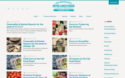 Screenshot of Press Page upperlakesfoods.com - News | Upper Lakes Foods - captured Nov. 12, 2017