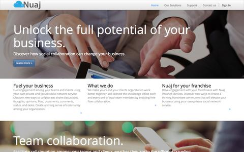 Screenshot of Home Page nuaj.com - Collaboration tools for your Teams and Clients - captured Aug. 12, 2015