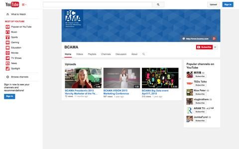 Screenshot of YouTube Page youtube.com - BCAMA  - YouTube - captured Oct. 23, 2014