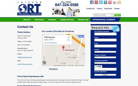 Screenshot of Contact Page Maps & Directions Page ortchicagotech.edu - Chicago ORT Technical Institute | Technical & Trade Schools in Skokie & Chicago IL | Chicago ORT Technical Institute | Technical & Trade Schools in Skokie & Chicago IL - captured Oct. 22, 2014
