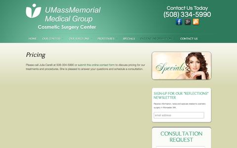 Screenshot of Pricing Page cosmeticsurgicenter.com - Plastic Surgery Prices, Worcester MA | UMass Memorial Cosmetic Surgery Center - captured May 14, 2016