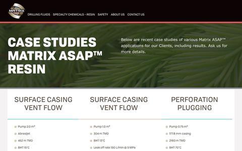 Screenshot of Case Studies Page matrixdrillingfluids.com - Matrix Case Studies Matrix ASAP™ Resin - captured June 10, 2017