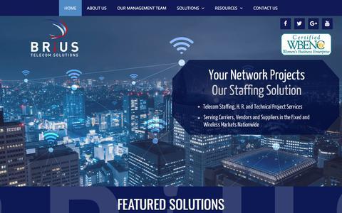 Screenshot of Home Page briustelecom.com - Home | BRIUS Telecom Solutions | Project Deployment | Staffing Solutions | - captured Oct. 9, 2017