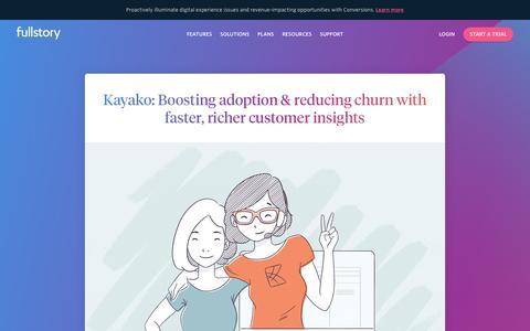 Screenshot of Case Studies Page fullstory.com - Kayako | Case Study | FullStory - captured Feb. 5, 2020