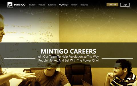 Screenshot of Jobs Page mintigo.com - Careers - Mintigo - captured Sept. 12, 2018