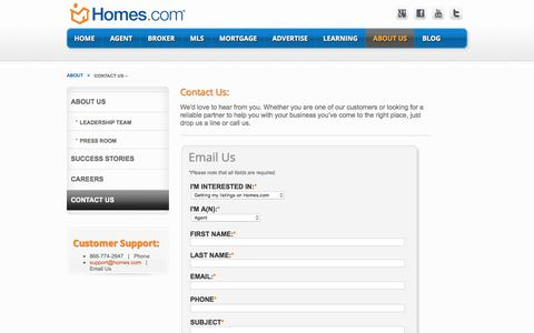 Screenshot of Contact Page homes.com - Contact Us –   Connect.homes.com - captured Jan. 25, 2017