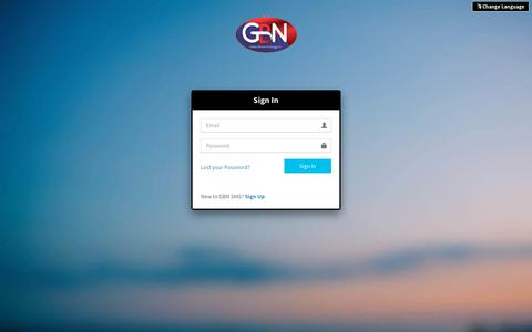 Screenshot of Signup Page Login Page gbnsms.com - GBN SMS   Log in - captured Oct. 18, 2018