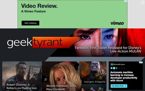 Screenshot of Home Page geektyrant.com - GeekTyrant – Geek Movie and Entertainment News - captured July 14, 2019
