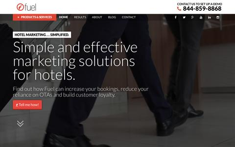 Screenshot of Home Page fueltravel.com - Fuel   Simple & Effective Marketing Solutions For Hotels - captured June 17, 2015