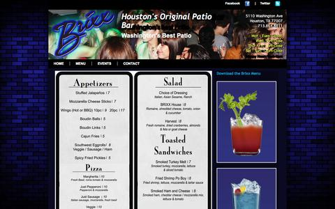 Screenshot of Menu Page brixxhouston.com - Brixx Bar Menu, The original patio Lounge on Washington Ave. 77007 - captured Oct. 5, 2014