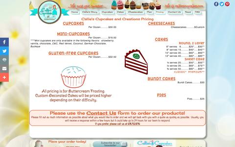 Screenshot of Pricing Page calliescupcakes.com - Callie's Cupcakes and Creations Pricing...life just got sweeter... - captured Oct. 17, 2016