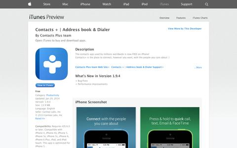 Screenshot of iOS App Page apple.com - Contacts + | Address book & Dialer on the App Store on iTunes - captured Oct. 22, 2014