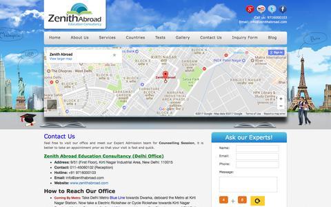 Screenshot of Contact Page zenithabroad.com - Reach Us - captured Nov. 5, 2017