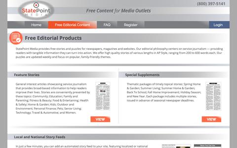 Screenshot of Products Page statepoint.net - StatePoint Media: Free Editorial Content - captured Nov. 16, 2018