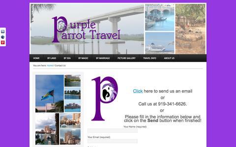 Screenshot of Contact Page purpleparrottravel.com - Contact Us - Purple Parrot Travel - captured Oct. 27, 2014