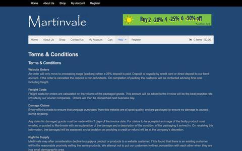 Screenshot of Terms Page martinvale.com.au - Terms & Conditions   Martinvale - captured Dec. 19, 2015