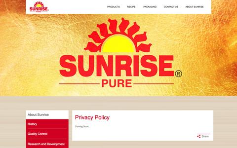 Screenshot of Privacy Page sunrise.in - Privacy Policy - captured Feb. 23, 2016