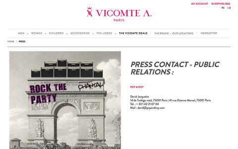 Screenshot of Press Page vicomte-a.com - Press - VICOMTE A - captured Sept. 23, 2014