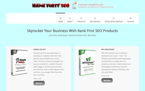 Screenshot of Home Page rankfirstseo.com - Welcome to RANK FIRST Software Store - captured Jan. 27, 2017