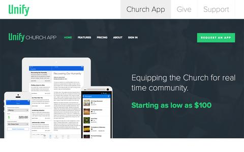 Screenshot of Home Page unifychurch.com - Unify: Church App | Equipping the Church for real time community. - captured Oct. 3, 2014