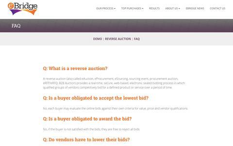 Screenshot of FAQ Page ebridgeglobal.com - FAQ - eBridge - Reverse Auction - captured Dec. 16, 2018