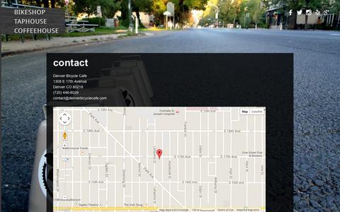 Screenshot of Contact Page denverbicyclecafe.com - Contact   Denver Bicycle Cafe - captured Sept. 30, 2014
