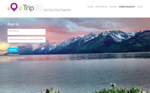 Screenshot of Login Page trip30.com - Trip30 - captured Feb. 25, 2016