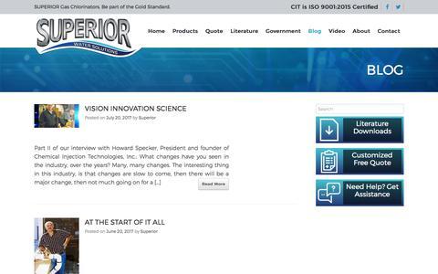 Screenshot of Blog chlorinators.com - Blog - Superior™ Gas Chlorinators - captured July 28, 2017