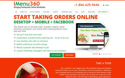 Screenshot of Home Page imenu360.com - Start accepting orders on your website - captured Oct. 6, 2014