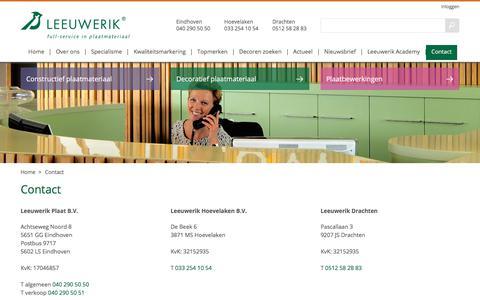 Screenshot of Contact Page leeuwerik.nl - Contact met Leeuwerik - captured July 31, 2017