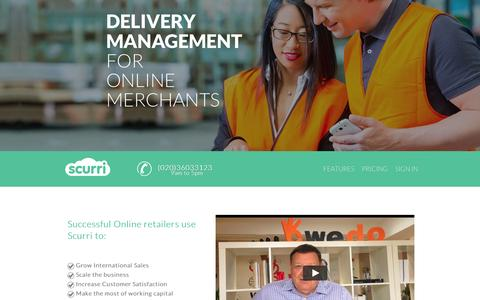 Screenshot of Home Page scurri.co.uk - Delivery Management for Online Merchants | Scurri | Shipping - captured Sept. 10, 2014