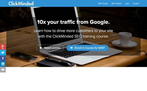 Screenshot of clickminded.com - Online SEO Training | ClickMinded - captured Sept. 20, 2015