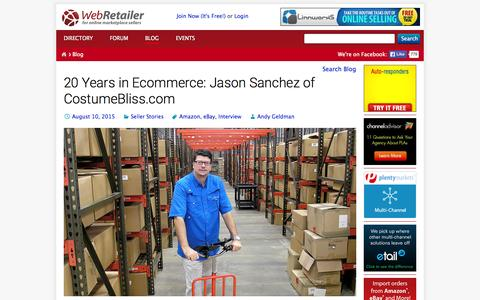 Screenshot of Blog webretailer.com - Web Retailer Blog - In-depth posts about ecommerce - captured Aug. 11, 2015