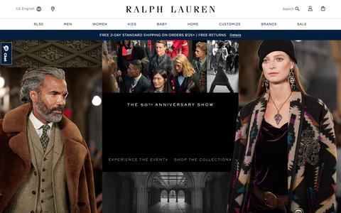 Screenshot of Home Page ralphlauren.com - Ralph Lauren: Designer Men's, Women's, Children's, & Baby Clothing - captured Sept. 11, 2018