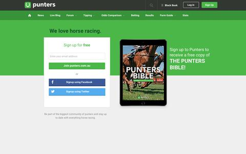 Screenshot of Signup Page punters.com.au - Make racing more awesome. Join Punters.com.au - captured Jan. 16, 2019