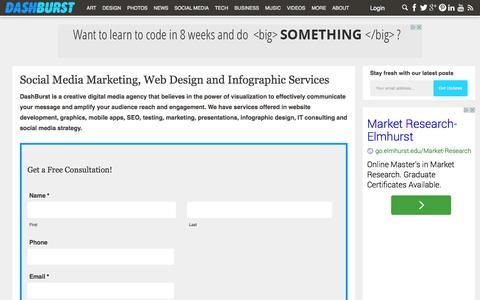 Screenshot of Services Page dashburst.com - Social Media Marketing, Web Design and Infographic Services - captured Sept. 15, 2014