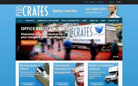 Screenshot of Home Page pluscrates.com - Pluscrates | Crate Hire for Moving Home, Office and Retail | Home - captured Oct. 3, 2014